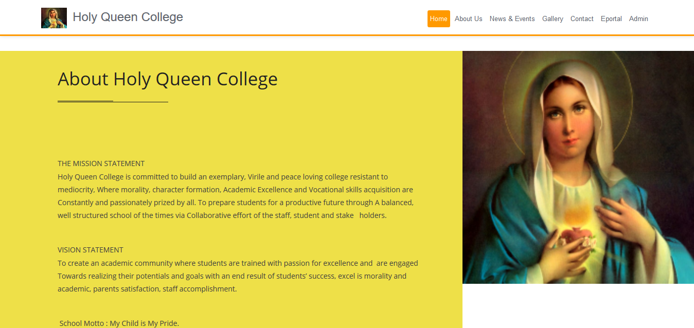 Holy Queen College – School website and Software in Anambra